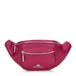 Женская кожаная  сумка на пояс с карманом, розовый, 92-4E-634-P, Фотография 1