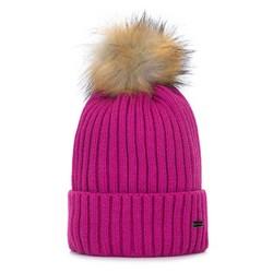 Женская шапка с помпоном омбре, розовый, 93-HF-013-P, Фотография 1