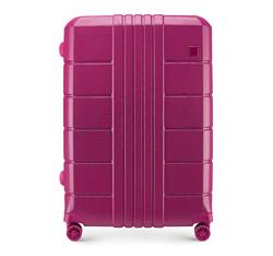 Nagy bőrönd polikarbonát bordás, rózsaszín, 56-3P-823-60, Fénykép 1