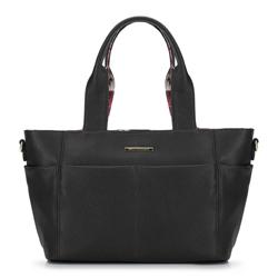 2-in-1-Tasche mit Blumenfutter, schwarz, 92-4Y-212-1, Bild 1