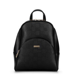 Damenrucksack mit halbrunder Tasche, schwarz-beige, 29-4Y-007-1E, Bild 1