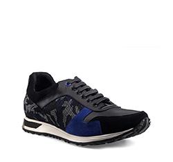 Schuhe, schwarz-blau, 85-M-927-1-39, Bild 1