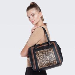 Einkaufstasche, schwarz-braun, 87-4Y-582-X1, Bild 1