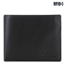 Mittelgroße ausklappbare Lederbrieftasche für Herren, schwarz, 02-1-040-1L, Bild 1