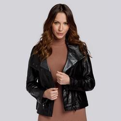 Damen -Bikerjacke aus Leder mit Kragen aus metallischem Leder, schwarz, 93-09-800-1-M, Bild 1