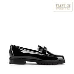 Damen-Lackleder-Mokassins mit Kette, schwarz, 93-D-105-1-35, Bild 1