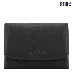 Damen -Geldbörse aus Leder, schwarz, 02-1-062-1L, Bild 1