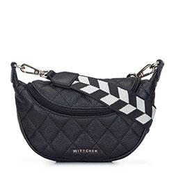 Gesteppte Lederhandtasche mit Sackleinengurt, schwarz, 93-4E-621-1, Bild 1