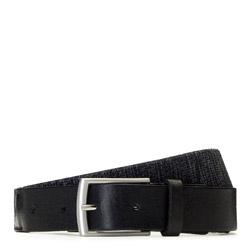 Gewebter Herrengürtel mit silberner Schnalle, schwarz, 91-8M-352-1-11, Bild 1