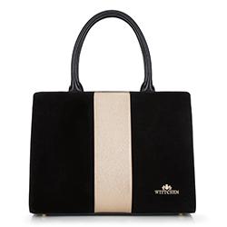 Einkaufstasche, schwarz-gold, 90-4E-602-1, Bild 1