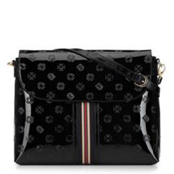 Damen-Umhängetasche aus Lackleder mit Monogramm und Bändchen, schwarz, 34-4-233-1, Bild 1