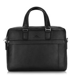 Herren-Laptoptasche aus Leder mit Nähten, schwarz, 20-3-048-1H, Bild 1