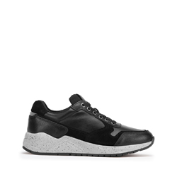 Herren-Ledersneaker mit dicker Sohle, schwarz, 93-M-300-1-45, Bild 1