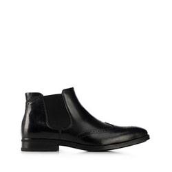 Chelsea Boots für Herren mit perforiertem Leder, schwarz, 91-M-913-1-44, Bild 1