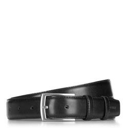 Herrenledergürtel mit Parallelnähten, schwarz, 91-8-001-1-12, Bild 1