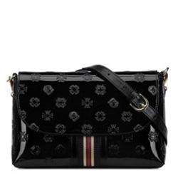 Damen-Umhängetasche aus Lackleder mit Monogramm und Bändchen, schwarz, 34-4-232-1, Bild 1