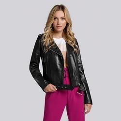 Klassische Damen-Bikerjacke aus Leder, schwarz, 93-09-700-1-2XL, Bild 1