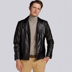 Klassische Herren-Bikerjacke aus Leder, schwarz, 93-09-602-1-3XL, Bild 1