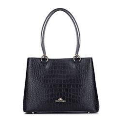 Kleiner Koffer aus Krokoleder, schwarz, 93-4E-631-1, Bild 1