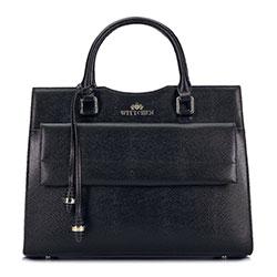 Lederköfferchen mit verlängerter Tasche, schwarz, 93-4E-601-1, Bild 1