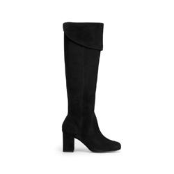 Overknee-Stiefel aus Wildleder mit Blockabsatz, schwarz, 93-D-755-1-35, Bild 1