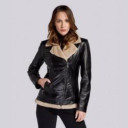 Pilotenjacke für Damen aus Leder mit Teddyfell, schwarz, 93-09-803-1-3XL, Bild 1