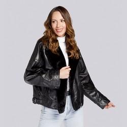 Pilotenjacke für Damen aus Leder und Kunstpelz, schwarz, 93-09-802-1-L, Bild 1