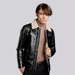 Pilotenjacke für Herren aus Leder mit Schnallen am Kragen, schwarz, 93-09-850-1-L, Bild 1