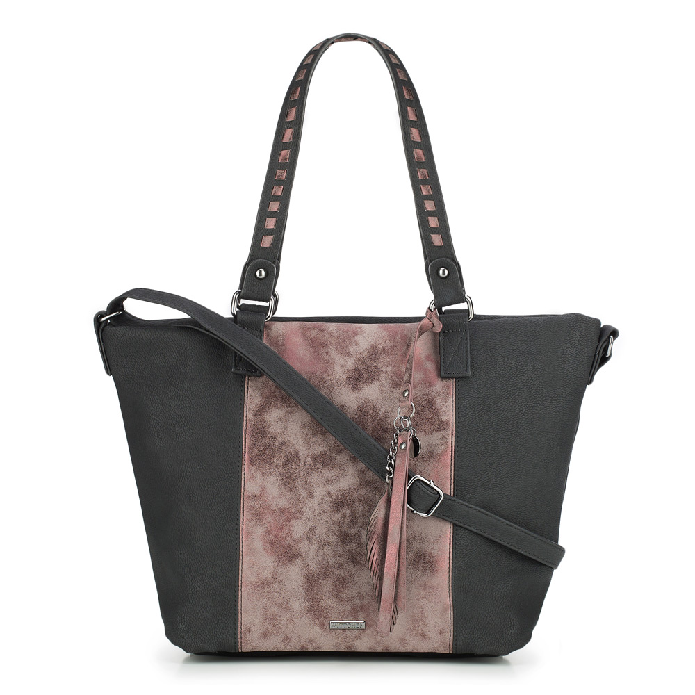 Shopper-Tasche, schwarz-rot, 87-4Y-718-1, Bild 1