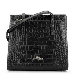 Shopper-Tasche aus Kroko-Leder, versteift, schwarz, 93-4E-630-1, Bild 1