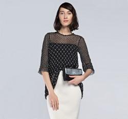 Damen Handtasche, schwarz-silber, 85-4E-430-1S, Bild 1