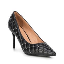 Stilettos aus gestepptem Leder, schwarz, 89-D-901-1-38, Bild 1