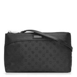 Crossbodytasche aus Jacquard mit Monogramm und aus Leder, schwarz, 93-4-250-1, Bild 1