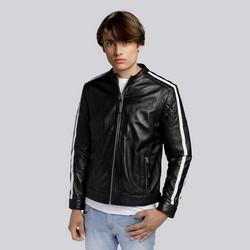 Herrenjacke aus Leder mit Streifen, schwarz-weiß, 93-09-601-01-M, Bild 1