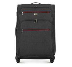 Großer Koffer mit farbigem Reißverschluss, schwarzgrau, 56-3S-503-12, Bild 1