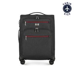 Kabinenkoffer mit farbigem Reißverschluss, schwarzgrau, 56-3S-501-12, Bild 1
