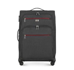 Mittelgroßer Koffer mit farbigem Reißverschluss, schwarzgrau, 56-3S-502-12, Bild 1