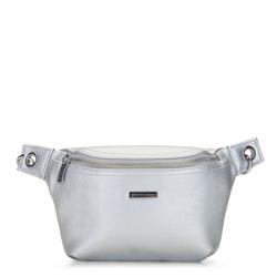 Женская поясная сумка с эффектом металлик, серебряный, 92-4Y-228-S, Фотография 1