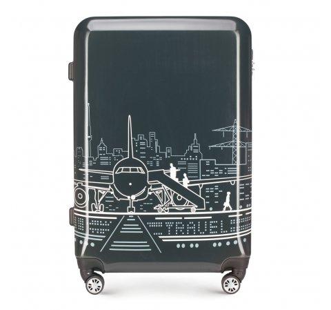 Большой чемодан, серо-белый, 56-3A-473-1P, Фотография 1