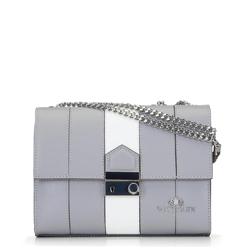 Кожаная сумка через плечо с регулируемой цепочкой, серо-белый, 92-4E-630-8, Фотография 1