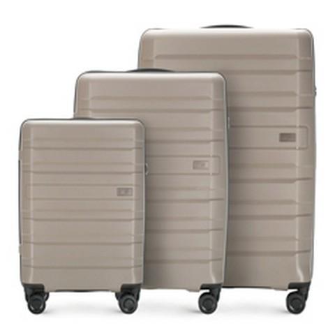 Комплект чемоданов, серо-бежевый, 56-3T-75S-85, Фотография 1