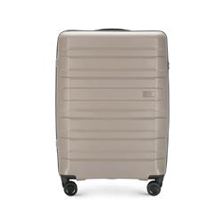 Средний чемодан из полипропилена с горизонтальными линиями, серо-бежевый, 56-3T-752-85, Фотография 1