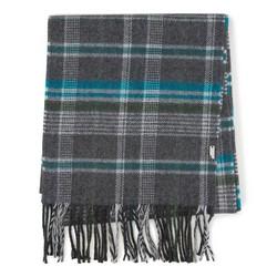 Мужской классический клетчатый шарф, серо - бирюзовый, 91-7M-X04-X1, Фотография 1