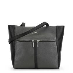 Кожаная сумка-шоппер с карманами, серо - черный, 91-4E-603-8, Фотография 1