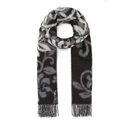 Женский шарф узорчатый с бахромой, серо - черный, 91-7D-X31-8, Фотография 1