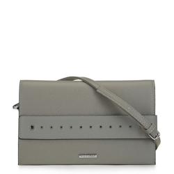 Большая сумка клатч с заклепками, серый, 91-4Y-712-8, Фотография 1