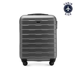 Рифленый чемодан ручная кладь из ABS - пластика, серый, 56-3A-381-70, Фотография 1