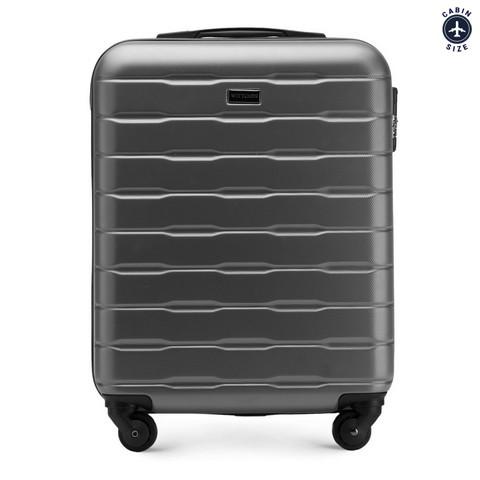 Рифленый чемодан ручная кладь из ABS - пластика, серый, 56-3A-381-85, Фотография 1