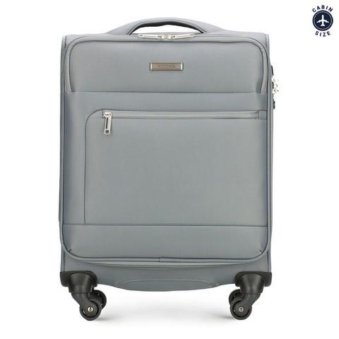 Тканевой одноцветный чемодан ручная кладь, серый, 56-3S-621-00, Фотография 1