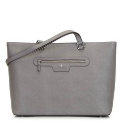Классическая кожаная сумка-шоппер, серый, 29-4E-009-88, Фотография 1